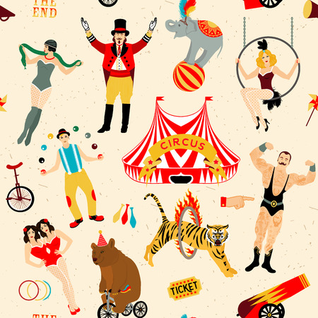 circus stage: Seamless Circus Pattern.  Colorfull  collection. Vector illustration. Illustration of circus stars.
