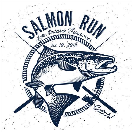 Archiwalne emblematów Salmon Fishing, etykiety i elementy projektu. ilustracji wektorowych. Ilustracje wektorowe