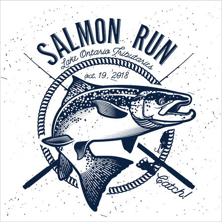 man fishing: Vintage emblemas de pesca de salmón, etiquetas y elementos de diseño. Ilustración del vector.