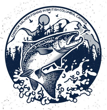 Vintage Salmon Fishing emblemen, labels en design-elementen. Vector illustratie. Stockfoto - 55730103