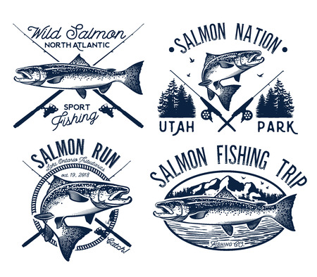 fly fisherman: Vintage Salmon Fishing emblems, labels and design elements.  Vector illustration.