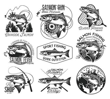 ビンテージのサーモン釣りエンブレム、ラベルおよびデザイン要素。 ベクトルの図。
