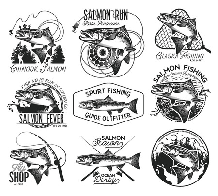Vintage Salmon Fishing emblemen, labels en design-elementen. Vector illustratie. Stockfoto - 55730102