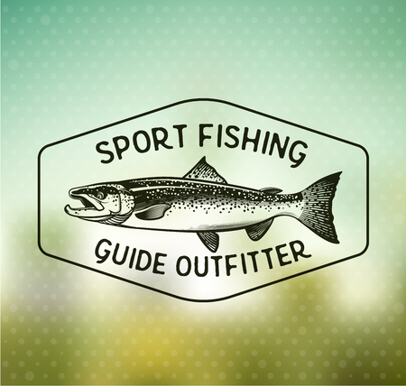 chinook: Salmon Fishing emblem on blur background.