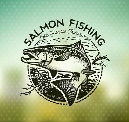 angling rod: Salmon Fishing emblem on blur background.
