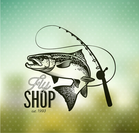 Lachsfischen-Emblem auf Unschärfe Hintergrund.