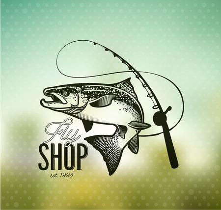 fly fisherman: Salmon Fishing emblem on blur background.