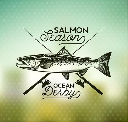 salmon fishing: Salmon Fishing emblem on blur background.