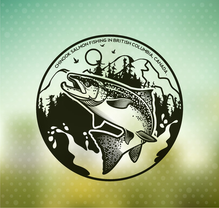 Salmon Fishing emblem on blur background.
