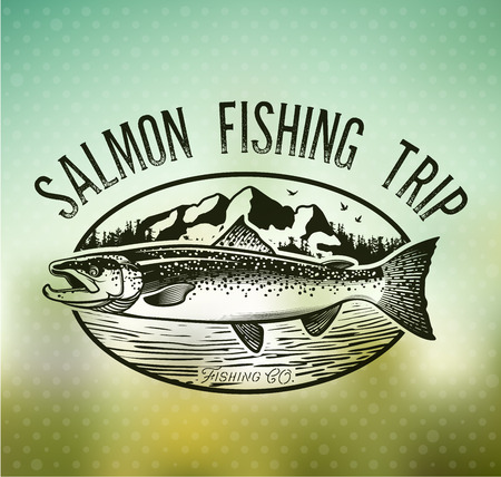 white salmon river: Salmon Fishing emblem on blur background.