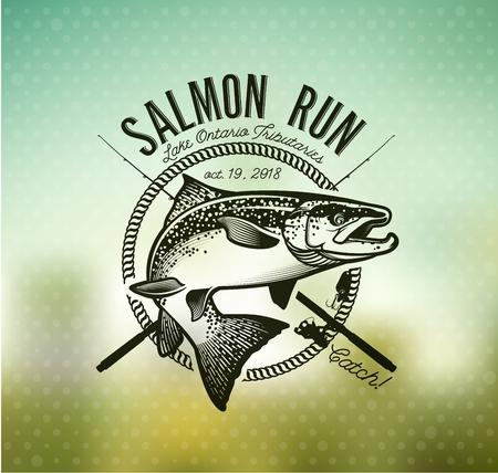 Pêche au saumon emblème sur fond flou. Banque d'images - 56338312