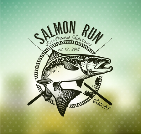 Salmon Fishing emblem on blur background.