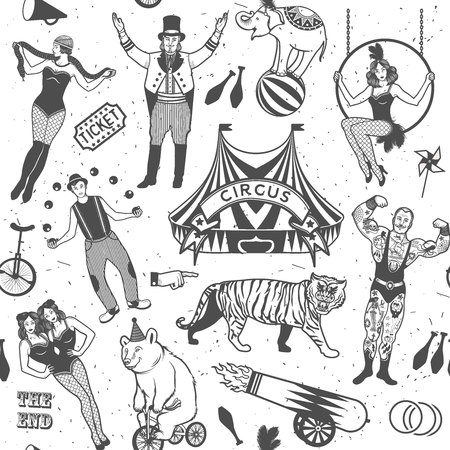 roving: Seamless Circus Pattern.  Colorful  collection. Illustration of circus stars.