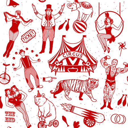carnival ride: Seamless Circus Pattern.  Colorful  collection. Illustration of circus stars.
