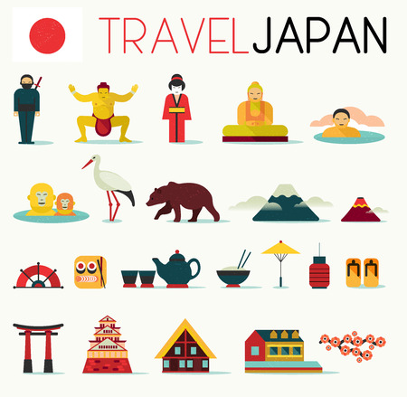 hokkaido: Travel Flat Japan Icons Design Set. Illustration