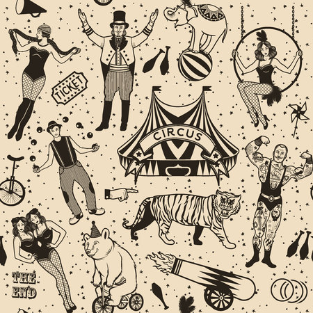 stage costume: Seamless Circus Pattern.  Colorful  collection. Illustration of circus stars.