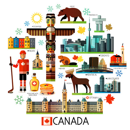 Set of Various Canada Icons on a Circle Shape.