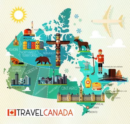 montreal: Map of Canada and Travel Icons. Canada Travel Map.