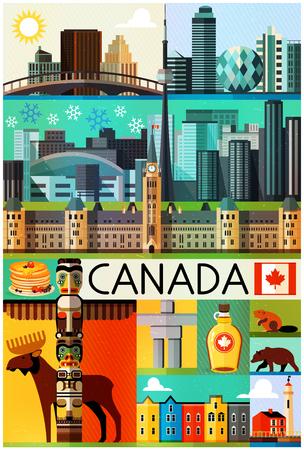 カナダ旅行のパターン。カナダの施設や観光地のイラスト。