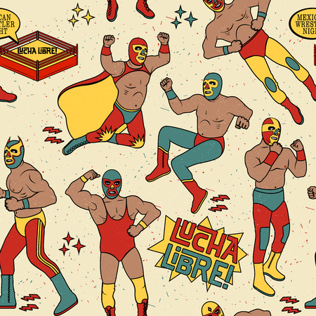 Lucha Libre Seamless Pattern. . Mexican Wrestler Night.