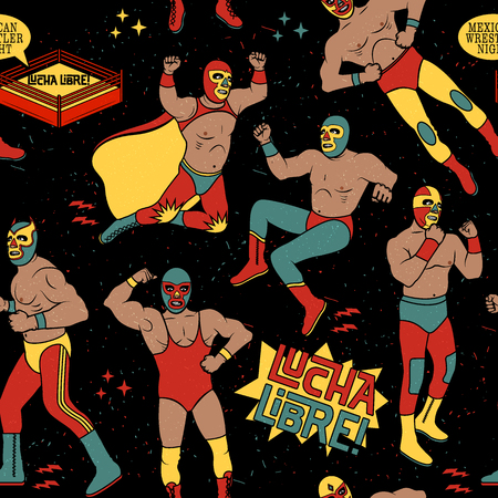 mexicans: Lucha Libre Seamless Pattern. . Mexican Wrestler Night.