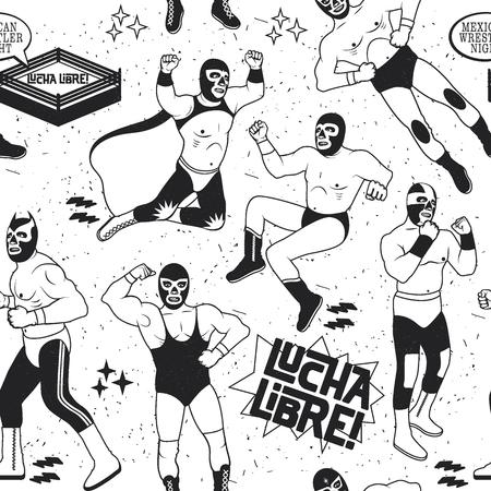 wrestler: Lucha Libre Seamless Pattern. . Mexican Wrestler Night.