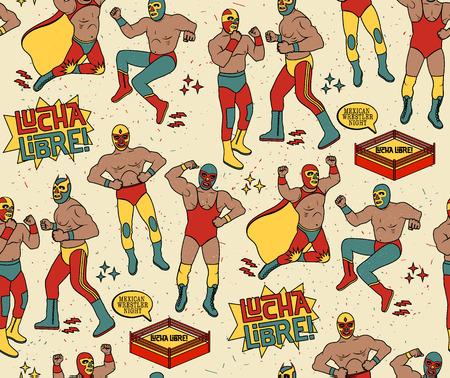 ルチャリブレのシームレスなパターン。メキシコのレスラーの夜。