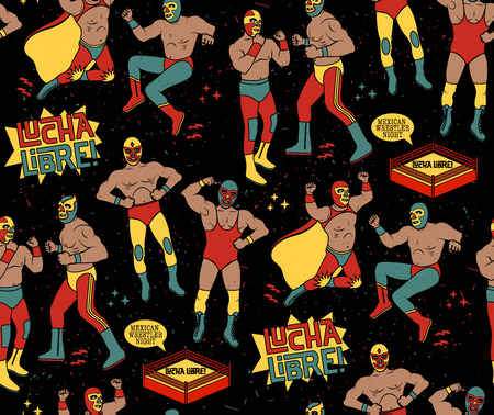 mexicans: Lucha Libre Seamless Pattern. Mexican Wrestler Night.