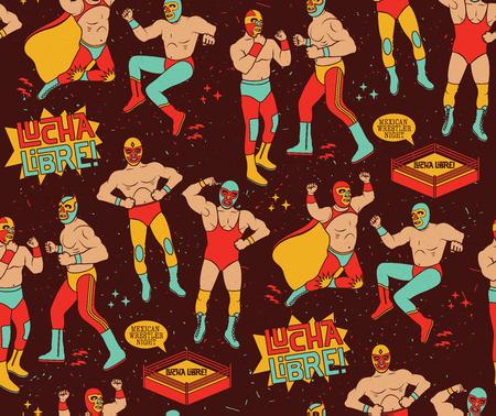traje mexicano: Patrón sin fisuras de Lucha Libre. Noche del luchador mexicano. Vectores