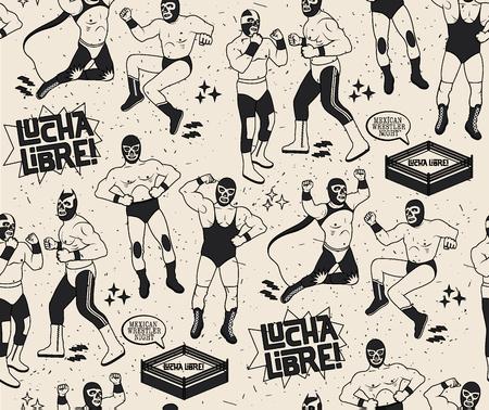 Lucha Libre Seamless Pattern. Mexican Wrestler Night.