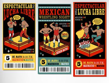 traje mexicano: Conjunto de entradas de lucha libre de la vendimia. VECTR ilustración.