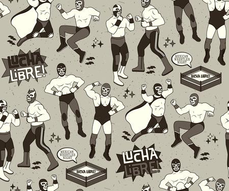 pop culture: Lucha Libre Seamless Pattern. Mexican Wrestler Night.