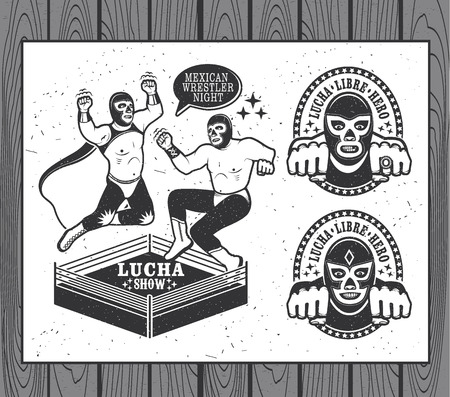 メキシコのレスラー セット。ルチャリブレ。ベクトル図  イラスト・ベクター素材