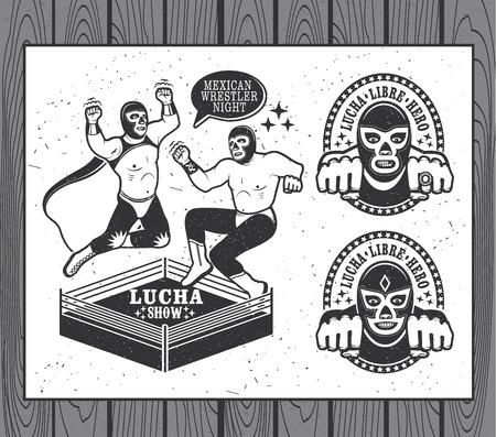 Mexican wrestler set. Lucha Libre. Vector illustration