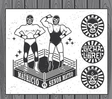 wrestler: Mexican wrestler set. Lucha Libre. Vector illustration