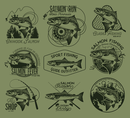 salmon fishing: Vintage Salmon Fishing emblems, labels and design elements. Vector illustration.