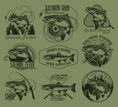 salmon fishing: Vintage Salmon Fishing emblems, labels and design elements. Vector illustration.