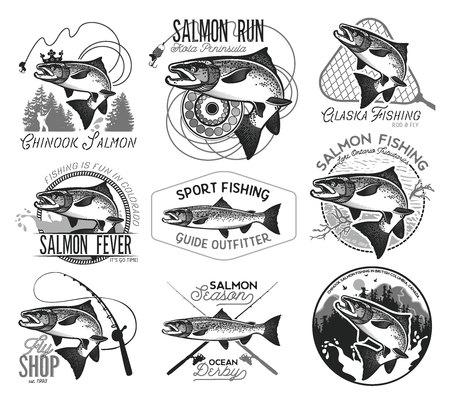 ビンテージのサーモン釣りエンブレム、ラベルおよびデザイン要素。ベクトルの図。