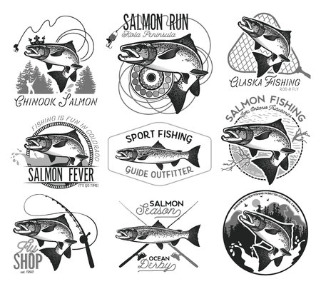 Vintage Salmon Fishing emblemen, labels en design-elementen. Vector illustratie.