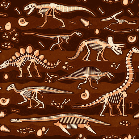 fossils: Seamless Pattern of Skeletons of dinosaurs and fossils. Vector illustration.