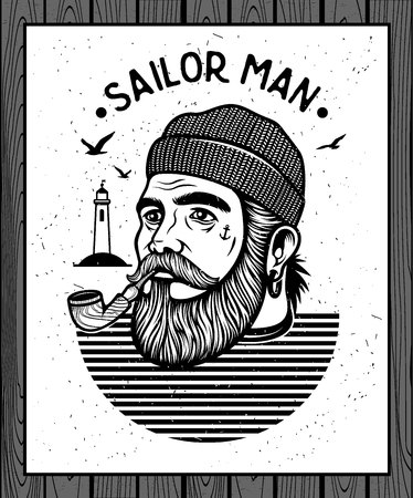 sailor hat: Portrait of bearded sailor with tobacco pipe. Hipster sailor man. Bearded boat captain smoking pipe