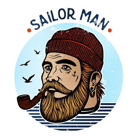 Portret brodatego żeglarza z tytoniu fajkowego. Hipster żeglarz człowiekiem. Brodaty kapitanem łodzi rury palenia Ilustracje wektorowe