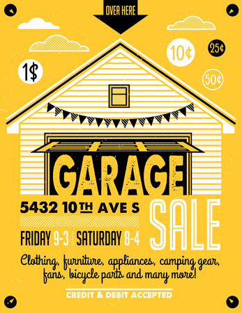 old door: Garage or Yard Sale with signs, box and household items. Vintage printable poster or banner template.