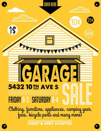 Garaje o venta de garaje con signos, caja y artículos para el hogar. Cartel imprimible vintage o plantilla bandera.