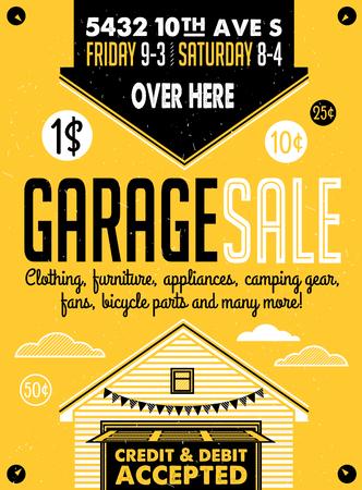 ガレージやヤードセール、標識、ボックス、家庭用品。ヴィンテージ印刷ポスターまたはバナーのテンプレート。
