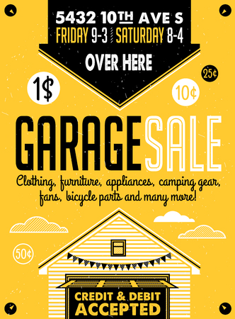 yard: Garage or Yard Sale with signs, box and household items. Vintage printable poster or banner template.