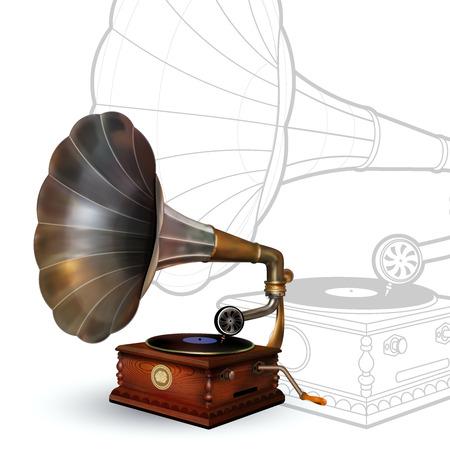 gramófono cosecha. Vector del cartel retro del partido. Música