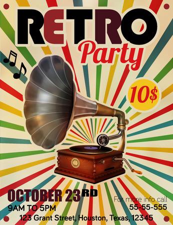 Vector Retro Party Plakat mit Jahrgang Gramophone Illustration
