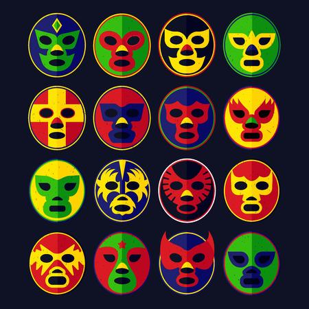 fierce competition: Mexican Lucha Libre Wrestling Masks. Vector Illustration. Illustration
