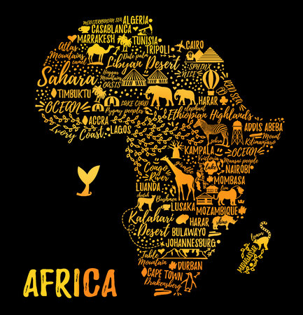 African children: Typography poster. Africa map. Africa travel guide